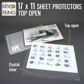 17 x11 top open sheet protectors