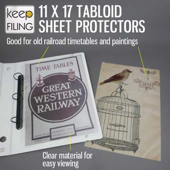 Keepfiling 11 x 17 sheet protectors for railroad horse blanket timetables