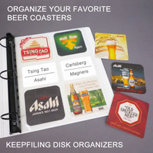Disk organizer pages for coasters