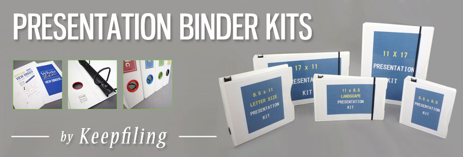 Keepfiling White ZEN Presentation Binders with Sheet Protectors Combo Kits