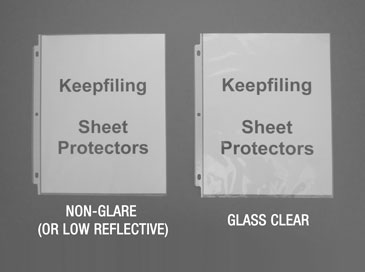 Sheet Protectors - Non-Glare vs. Glass Clear - Text Document